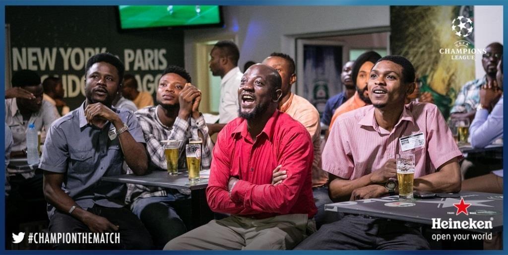 Football fans at the Heineken House