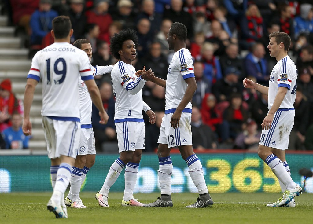 Hazard Bags Brace, Mikel Plays In Defence As Chelsea Rout Bournemouth