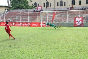 Asegun Keeper blocks a goal from the Enugu boys during penalties