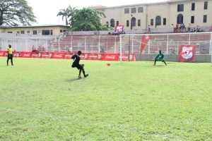 Asegun Boys score the winning goal during the penalties