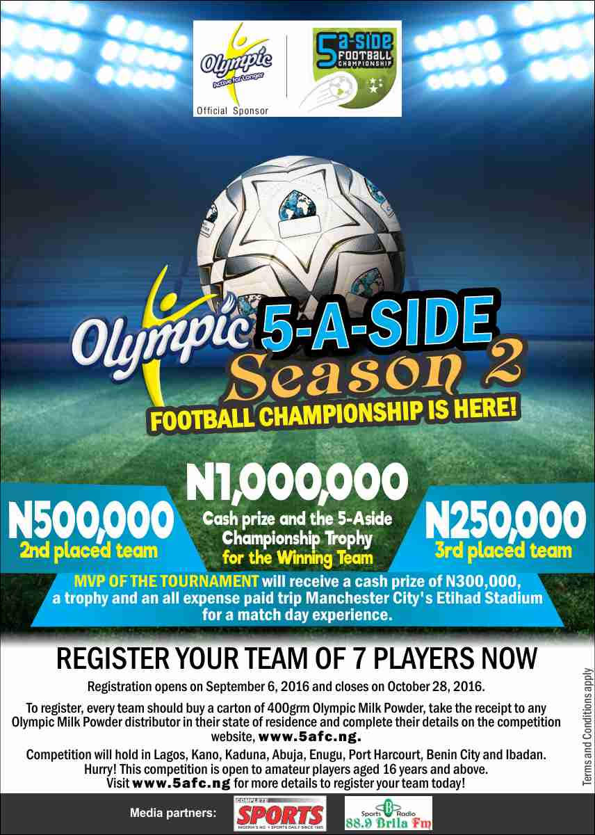 Final Chance To Register Your Team For The  2016 Olympic 5-A-Side Football Championship