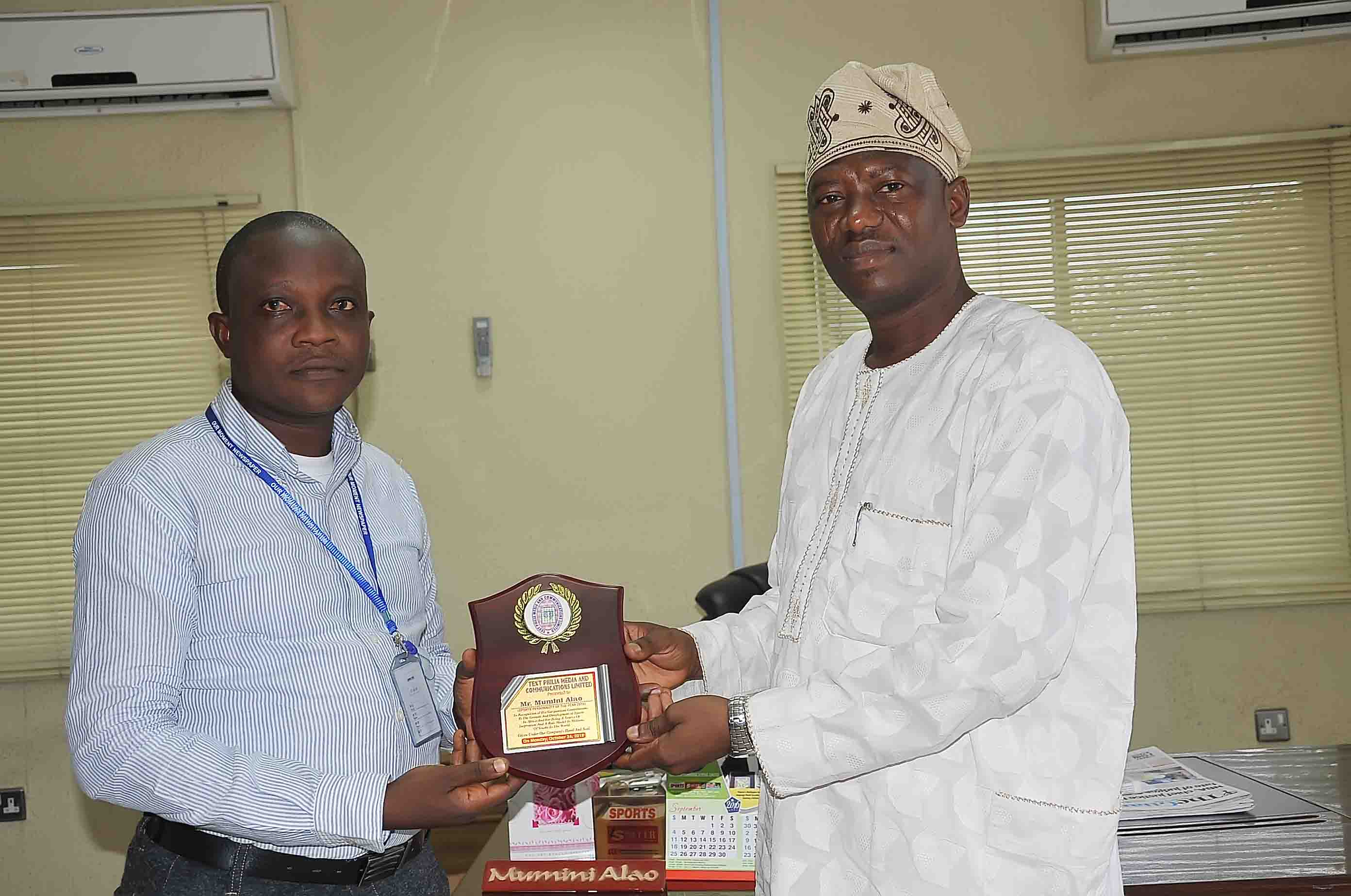 CCL GMD Alao Honoured With Sports Personality Of The Year Award