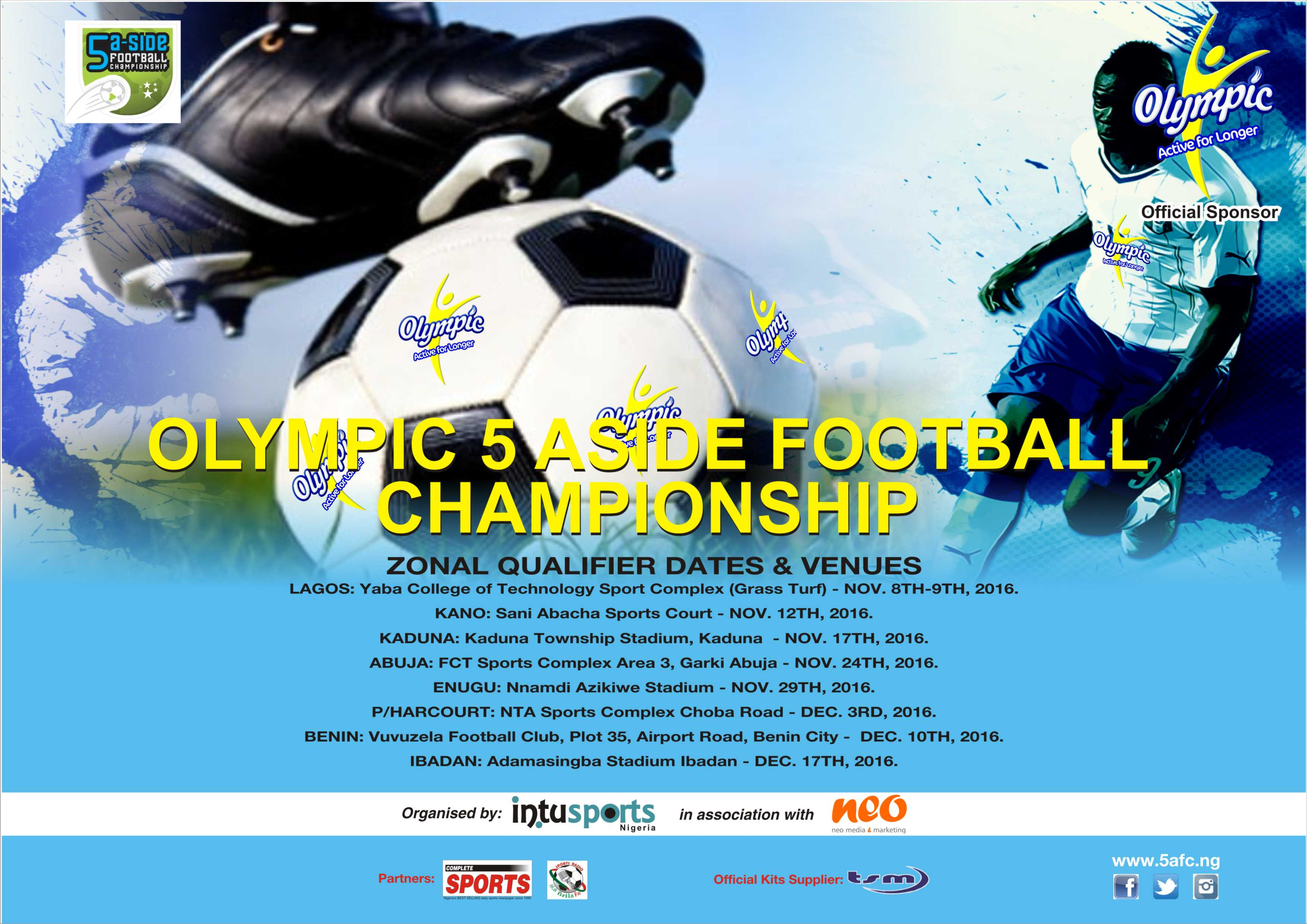 2016 Olympic 5-A-Side  Football Championship Gets Dates, Venues‎