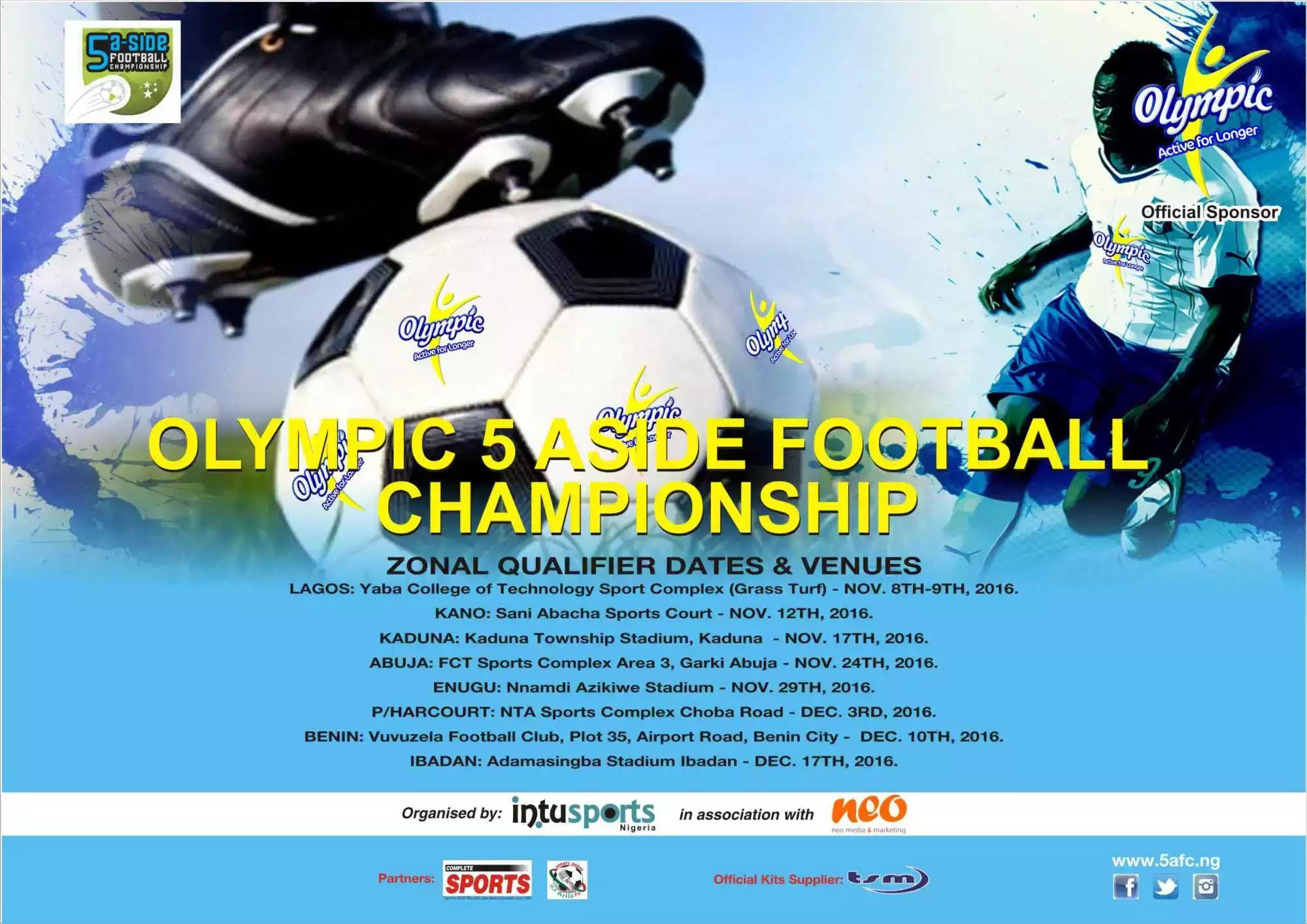 Olympic 5-A-Side Season 2:Benin Zonal Qualifiers Start Dec. 10