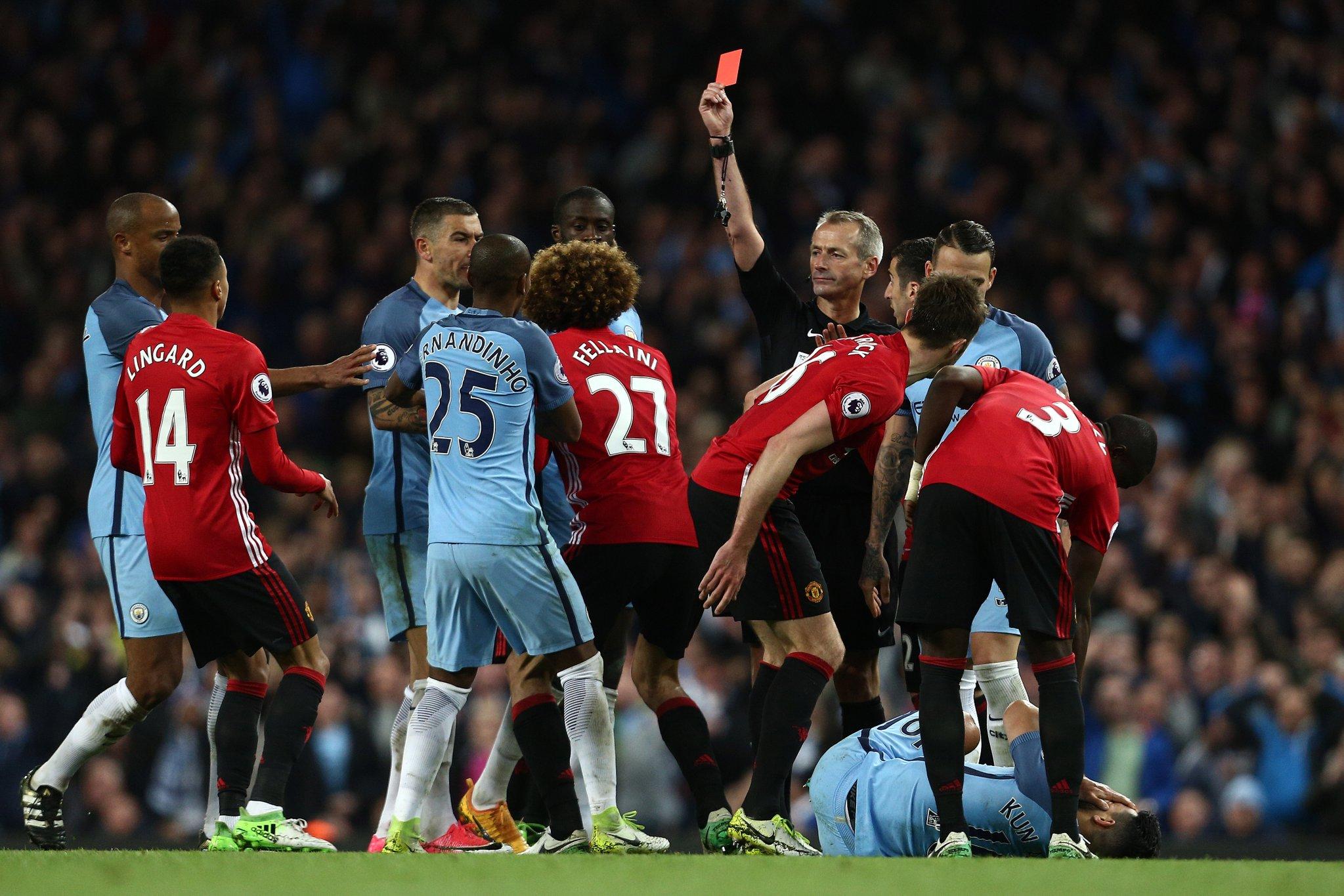 Iheanacho Dropped, Fellaini Sent Off As Man United Hold Man City