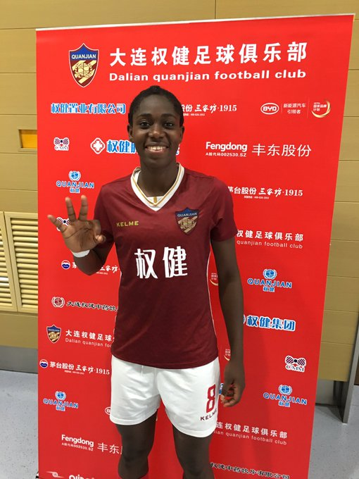 China: Oshoala Celebrates 'Incredible' Hat-trick As Dalian Smash Shandong