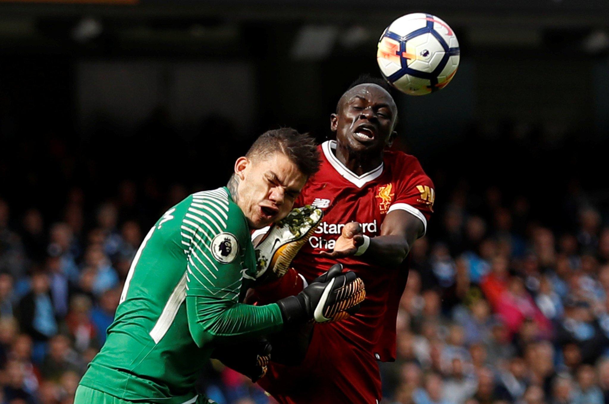 Mane Sent Off, Aguero Makes History As Man City Thrash Liverpool