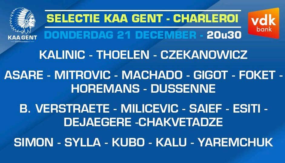 Simon, Esiti, Kalu Make Gent's Squad For Charleroi Clash