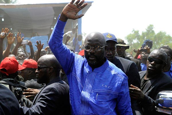 Image result for us president congratulates weah