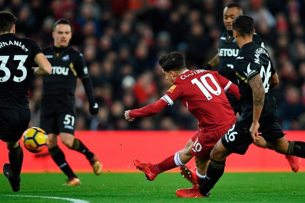 English Premier League report Liverpool v Swansea City 26 December 2017