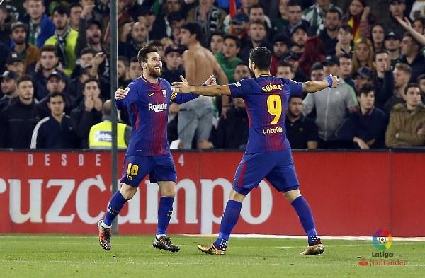 Messi, Suarez Score As Runaway Leaders Barcelona Thrash Real Betis