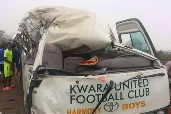 Kwara United Players Injured, Bus Damaged In Road Accident
