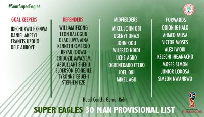 Mikel, Moses, Ndidi, Lokosa Make Super Eagles 30-Man Squad; Onyekuru, Osimhen, Kayode Out