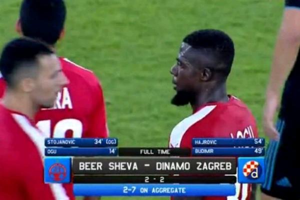 UCL Qualifying: Ogu On Target As  Be'er Sheva Draw At Home Vs Dinamo Zagreb, Crash Out