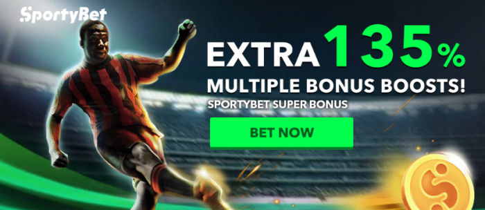 Enjoy Up To 135% Bonus On Multiple Bets At SportyBet
