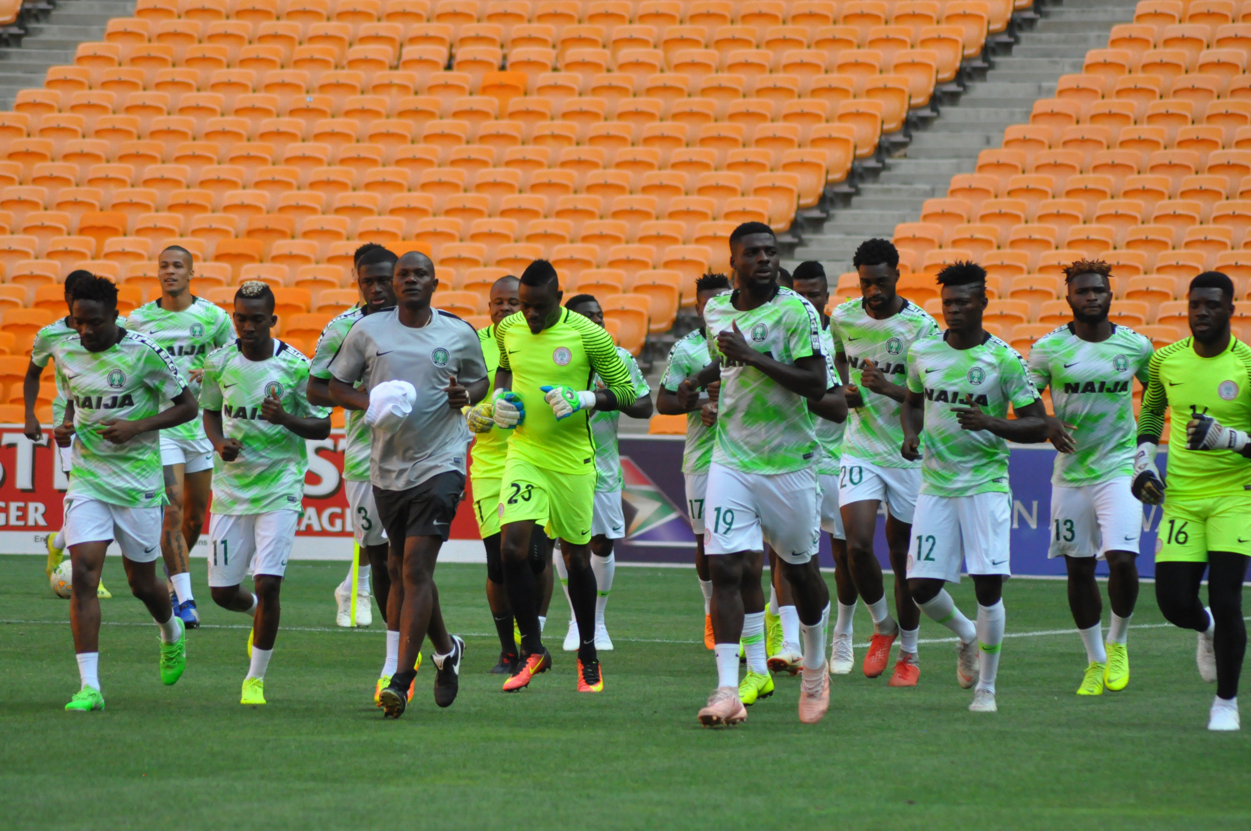 Rohr Adopts 3-5-2 Formation Vs South Africa; Ezenwa In Goal; Ogu, Kalu Start; Musa, Iheanacho Lead Attack
